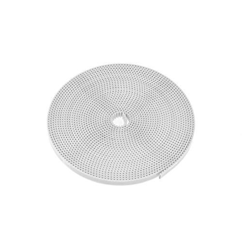 LCuiling-Cinturón sincrónico PU con el cinturón de tiempo de fibra de vidrio de goma del núcleo de acero, cinturón GT2, color blanco, cinturón de tiempo abierto de 2 gt, ancho de 6 mm, 5 m para impres