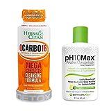 Herbal Clean Same-Day Detox Bundle, QCarbo16 Detox Drink, Orange Flavor, 16 Fl Oz, with pH10Max Alkaline Water Drops, Lemon Lime Flavor, 2 Fl Oz