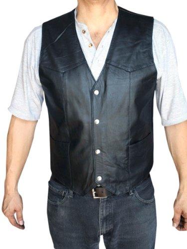 Men's Motorcycle Vest Genuine Soft Leather Black Syle 950_Extra Large