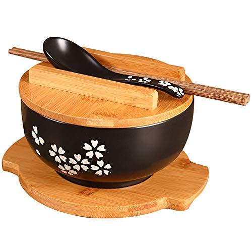 Home kitchen products - Cuenco de utensilios de cocina, 1000 ml de cerámica de fideos de fideos Cuchara de cuenco con cubierta de fideos instantáneos cuenco sopa de sopa de tazón de fuente de cuenco d