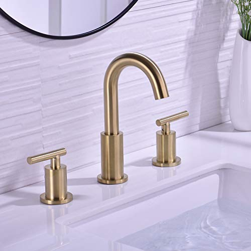 TRUSTMI 2 Handle 8 Inch Brass Bathroom Sink Faucet 3 Hole Widespread with Valve and cUPC Water Supply Hoses, with Overflow Pop Up Drain Assembly, Brushed Gold