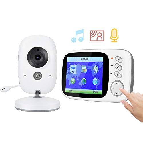 Babyfoon, draadloze bewakingscamera met 3,2-inch HD LCD-scherm en 2-weg audio-intercom en bewakingscamera voor Lullabies Music IR Baby Care Monitor (EU-stekker)