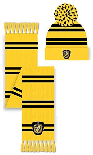 Harry Potter Hufflepuff Hoed & Sjaal Set Winter Accessoire, Geel, One Size