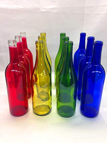12 Mixed Glass Bottles 750 ML Red Blue Green Yellow for Crafting, Parties, Bottle Trees, Vases, Mosaics, Home Brew