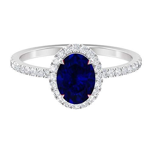 Anillo de zafiro azul creado en laboratorio de 8x6 mm, corte ovalado, halo de diamante HI-SI, anillo de compromiso de piedra lateral, anillo de boda oro (calidad AAAA), 14K Oro blanco, Size:EU 61