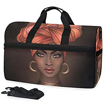 Travel Duffels African Pretty Girl Duffle Bag Luggage Sports Gym for Women & Men
