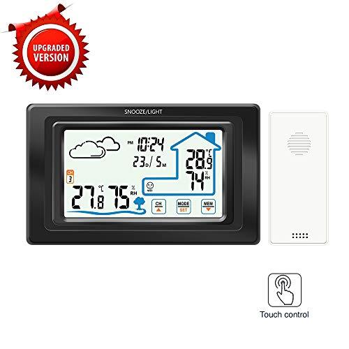 Houkiper Wekker, digitaal draadloos multifunctioneel touchscreen-weerstation 165*98*10mm zwart