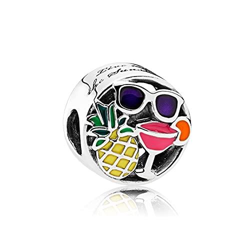 Pandora 925 colgante de plata esterlina Diy esmalte mixto divertido encanto se adapta a la pulsera de cuentas de Metal para la fabricación de joyas regalo de las mujeres