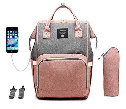 Baby Wickelrucksack, Babytasche für Reise, Wickeltasche Große Kapazität, Multifach Reise Rucksack Wasserdicht Fächer Babyflaschehälter (Grau und Pink)