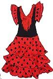 selecte-plus - Vestido flamenco para niña, color rojo y blanco rojo 8 años