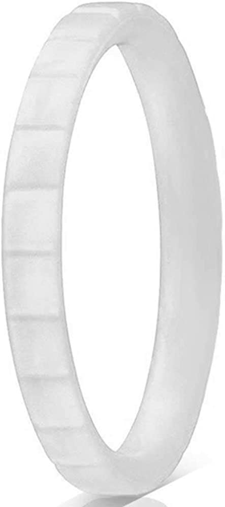 Jude Jewelers 3mm Silicone Rubber Material Grooved Stackable Wedding Band Statement Anniversary Ring