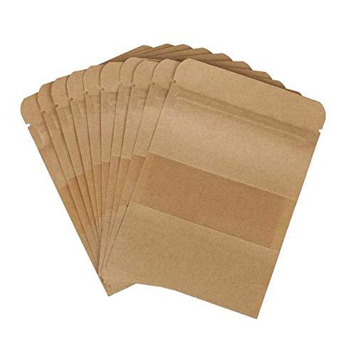 Wean Paquete de 100 bolsas reutilizables de papel kraft con cierre de cremallera, bolsa de almacenamiento de alimentos, bolsa de pie para semillas, dulces, judías, hojas de té, frutas secas, 9 x 14 cm
