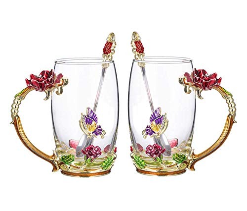 COAWG Teetasse aus Glas, Rote Rose Glasklares Neuheitsglas Teetasse Kaffeetassen Reisebecher mit durchdachtem Blumengriff und schönen Löffel-Lehrer-Bechern -12oz 2pack