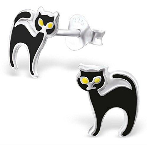 FaithOwl - Pendientes de tuerca de plata de ley 925 con diseño de gato blanco
