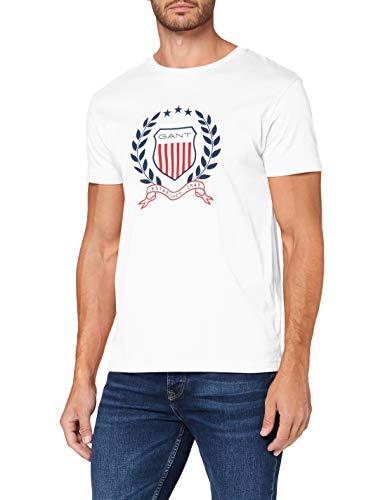 GANT D1 Crest T-Shirt Camiseta, Blanco, XXXL para Hombre