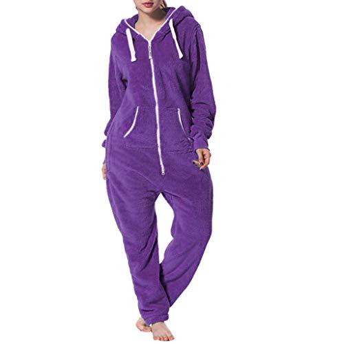 VECDY Jour De La Saint-Valentin Présente Womens Pure Color Comfy Brossé en Peluche épaississement Zipper Jumpsuit(Violet,L)