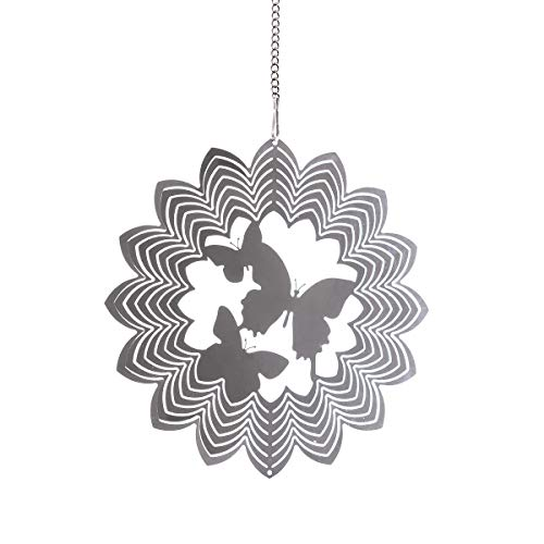 3D Metal Art Garden Wind Spinner Original Window Hanging DIY Home Xmas Decor with Butterfly Pendant Christmas Decoration(1PC)
