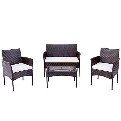 ZOEON Polyrattan Sitzgruppe für 4 Personen Gartenmöbel-Set, Rattan Lounge Sitzpolster und Tisch Balkonmöbel Set, Garten möbelsets, Sofa & 2 Stühlen (Braun)