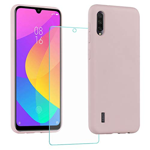 All Do Funda para Xiaomi Mi A3, Protector Pantalla Cristal Templado, Carcasa de Silicona Líquida Gel Ultra Suave Funda con tapete de Microfibra Anti-Rasguño - Rosa