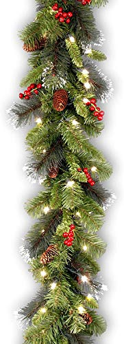 National Tree Company Pre-lit Artificial Christmas Garland | Flocked with Mixed Decorations and Lights | Crestwood Spruce - 9 ft
