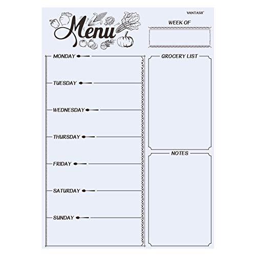 Lavagna magnetica per frigorifero, menu settimanale, pianificatore pasti, lista della spesa, lavagna cancellabile a secco, per frigo da cucina, con 8 pennarelli magnetici colorati (40,6 x 30,5 cm)