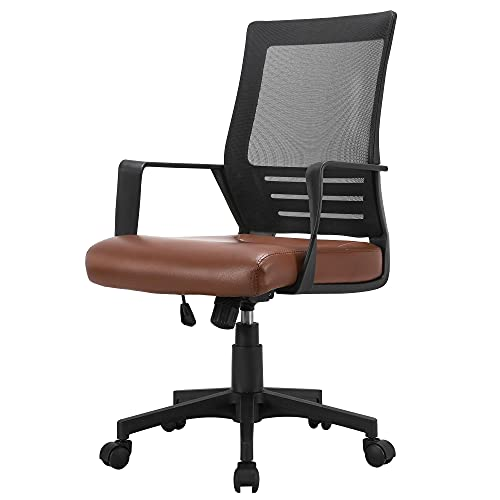 Yaheetech Brown Office Chair Modern Computer Chair Adjustable Desk Chair PU Leather qith Padded Seat and Back Support for Home Office