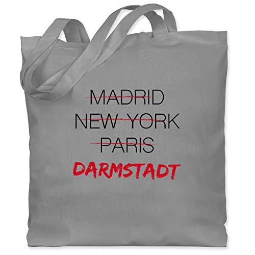 Shirtracer Städte - Weltstadt-Darmstadt - Unisize - Hellgrau - Heimat - WM101 - Stoffbeutel aus Baumwolle Jutebeutel lange Henkel