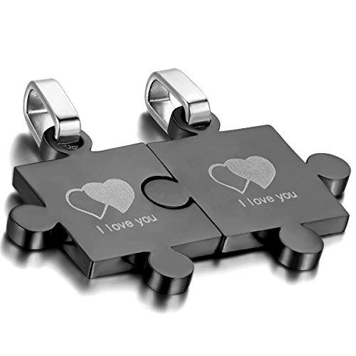 Oidea 1 paar (2 stuks) vriendschapskettingen met hanger, roestvrij staal I love you gegraveerd dubbel hart puzzel partnerhanger met 45 cm en 55 cm halsketting halsband, zwart