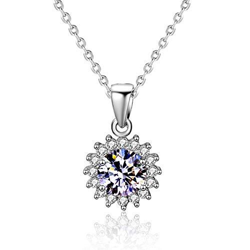 NHGF Collar de Flor de Sol, s925 Collar de Flor de Sol de Plata esterlina Collar de Dama Colgante Cadena de clavícula, Accesorios de joyería