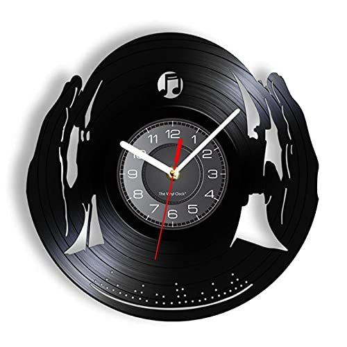 JKLMZYT DJ Club Party Mix Dance Muziek Beat Hoofdtelefoon Vinyl Record Wandklok voor DJ Club Decoratieve Opknoping Horloge