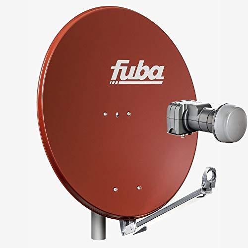 Fuba 2 Teilnehmer Sat Anlage DAL 802 R | Sat Komplettanlage mit Fuba DAL 800 R Alu Sat-Schüssel/Sat-Spiegel Ziegelrot + Fuba DEK 217 Twin LNB für 2 Receiver/Teilnehmer (HDTV-, 4K- und 3D-kompatibel)