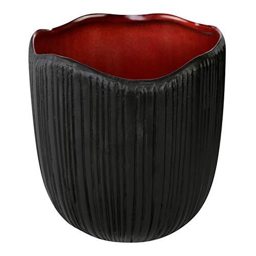 PTMD Deko Übertopf Blumentopf Ted red aus Keramik, innen rot, außen schwarz - Maße: 17.0 x 16.0 x 16.0 cm