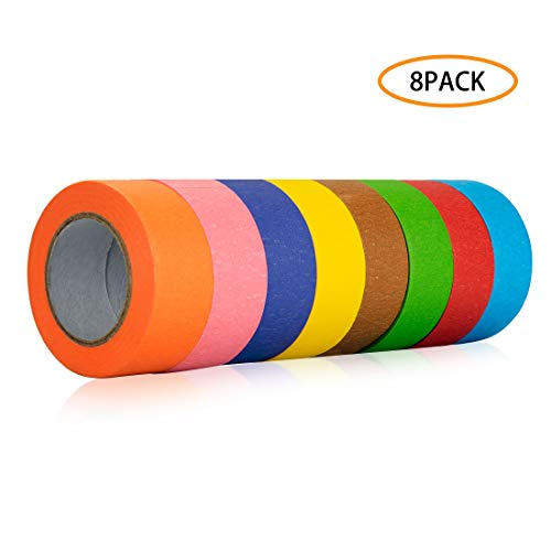 8 Roll Colored Masking Tape, 1.5 Inch Wide Craft Rainbow Masking Tape Labeling Tape Roll for DIY, Art, Coding and Labeling, 8 Colors, 80 Yards Total