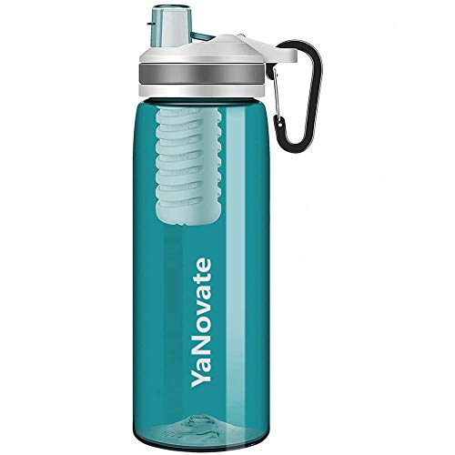 YaNovate Filtered Water Bottle, Portable Grade Filter 2-Stage Integrated Water Purifier with Replaceable Filter for Camping, Endurance Sports, Hiking and Backpacking, BPA Free, 26 Oz