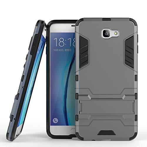 COOVY® Cover für Samsung Galaxy J7 Prime SM-G610Y /Duos SM-G610F / DS / On7 Bumper Hülle, Doppelschicht aus Plastik + TPU-Silikon, extra stark, Anti-Shock, Standfunktion | Farbe grau