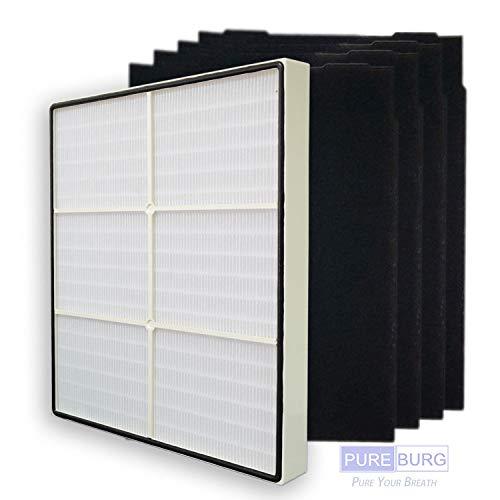 PUREBURG Replacement 1 HEPA Filter + 4 Carbon Filters for Whirlpool Whispure 8171434K 1183054K 1183054 AP300 AP350 AP450 AP510