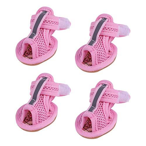 Balacoo 4pcs Hund Mesh Sandalen atmungsaktiv Sommer Hund Schuhe Anti-Rutsch-Turnschuhe für Puppy Teddy Pet Supplies (Pink) - Größe 3