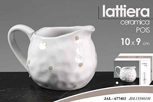 GICOS IMPORT EXPORT SRL lattiera Contenitore Latte in Ceramica Ceramica con Manico Colore Bianco Decoro Pois 10 * 9 cm JAL-677403