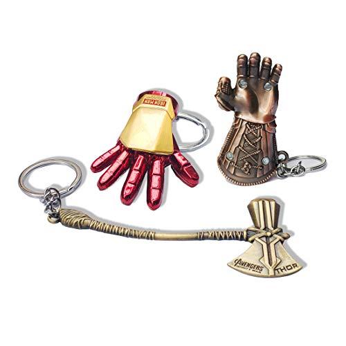 Superhelden-Schlüsselanhänger Thor Stormbreaker Hammer Schlüsselanhänger Thanos Handschuh Schlüsselanhänger Herren Superhelden-Zubehör, edelstahl, rot, Einheitsgröße
