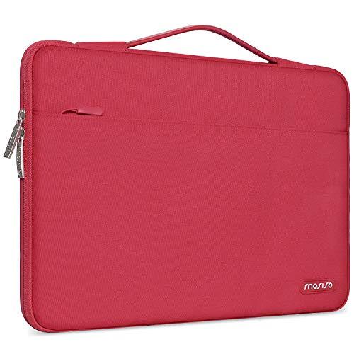 MOSISO Maletín Compatible con 13-13,3 Pulgadas MacBook Air/MacBook Pro/Ordenador portatil, Funda Blanda Protectora 360 Multifuncional Bolso con Correa de Carro, Rojo