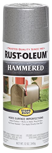 Rust-Oleum 7213830 Stops Rust Hammered Spray Paint, 12 Oz, Silver