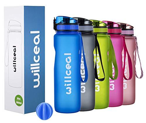 Sport Trinkflasche, BPA Frei Tritan, 1L (36oz), Premium Auslaufsicher Kunststoff Wasserflasche Sport, Sportflasche für Camping Freien, Radfahren, Wandern, Yoga, Gym und mehr (BLUE, 1L)