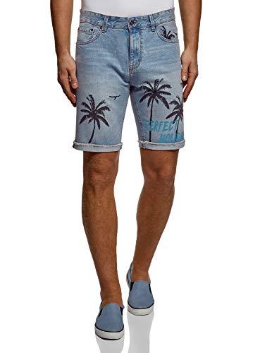 oodji Ultra Hombre Pantalones Cortos Vaqueros con Estampado, Azul, 38