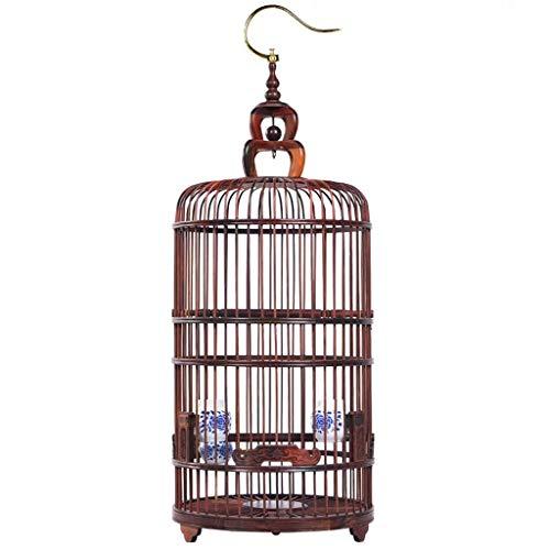 Jaulas para pájaros grandes baratas Madera jaula de pájaro de Myna Thrush jaula circular de la jaula de pájaro de madera Casa Linterna de talla de madera Decoración Nido de madera casa del pájaro jaul