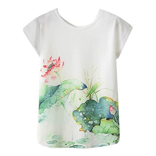 Andouy Damen T-Shirt Graffiti/Print/Tier/Blume Kurzarm O Neck Top Gr.36-42 Laides Daily Bluse(XL(42),Grüne Lotusblätter)