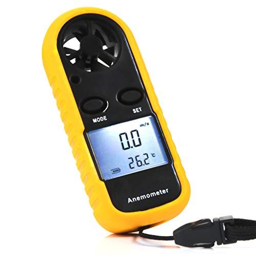 LCD medidor de velocidad del viento Anemómetro LCD digital Medidor de velocidad del viento Medidor Termómetro de medición de la velocidad del flujo de aire con luz de fondo para drones RC Helicóptero