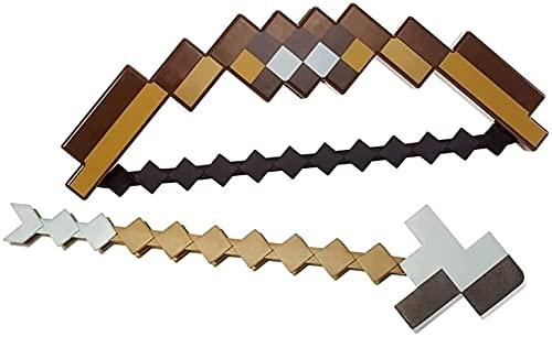 LFDSBLJ Minecraft, Arco y Flecha para niños, Espada mágica de plástico Rosa/marrón, Arco y Flechas de Mosaico de píxeles, Equipo de Balas, Accesorios, Juego en Interiores y Exteriores(Brown)