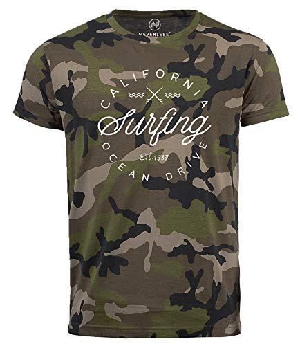 Neverless® Herren Camo-Shirt California Surfing Ocean Drive Summer T-Shirt Camouflage Tarnmuster camo L