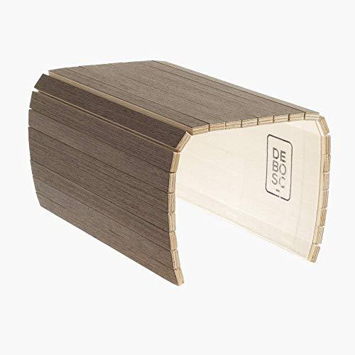 Bandeja adaptable al brazo del sofá, sillón o butaca, proporciona espacio útil para dejar la copa, taza o vaso. Mesa auxiliar de wengue
