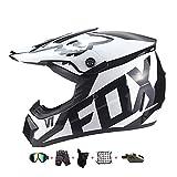 Casco Moto niño,Casco Motocross niño Moto Set con Gafas/Máscara/Guantes Casco Motocross (6unidades) Apto para Cuatro Estaciones (C, 55-56CM)